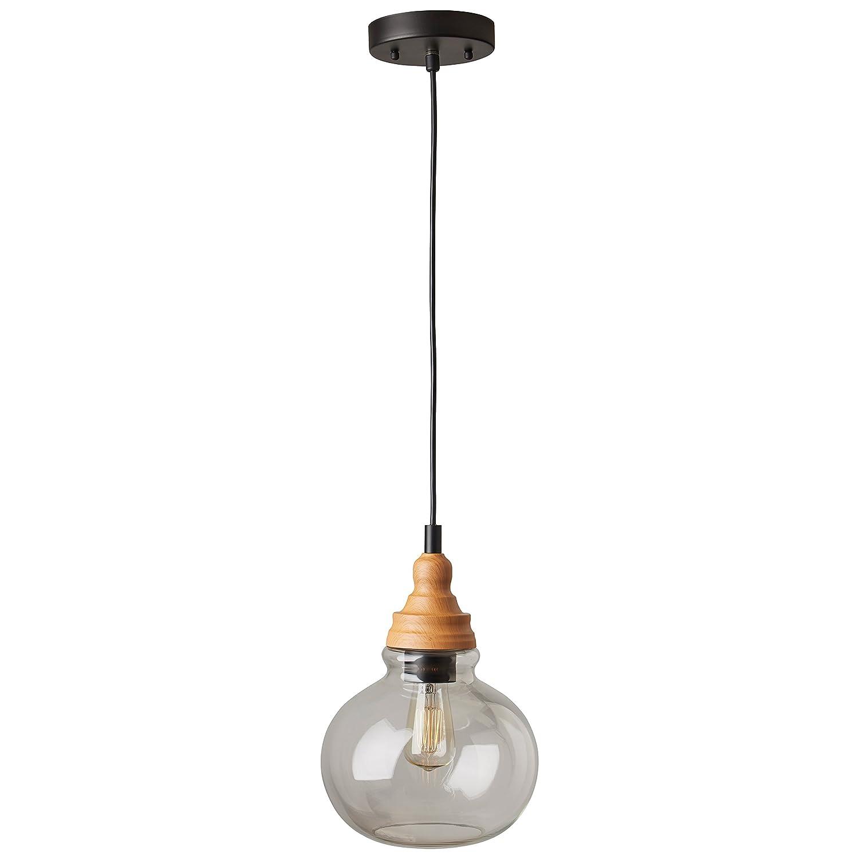 Brown and Black 14.25-60H Canarm IPL665A03BK-A 14.25-60H Rivet Glass 3-Light Pendant With Bulb