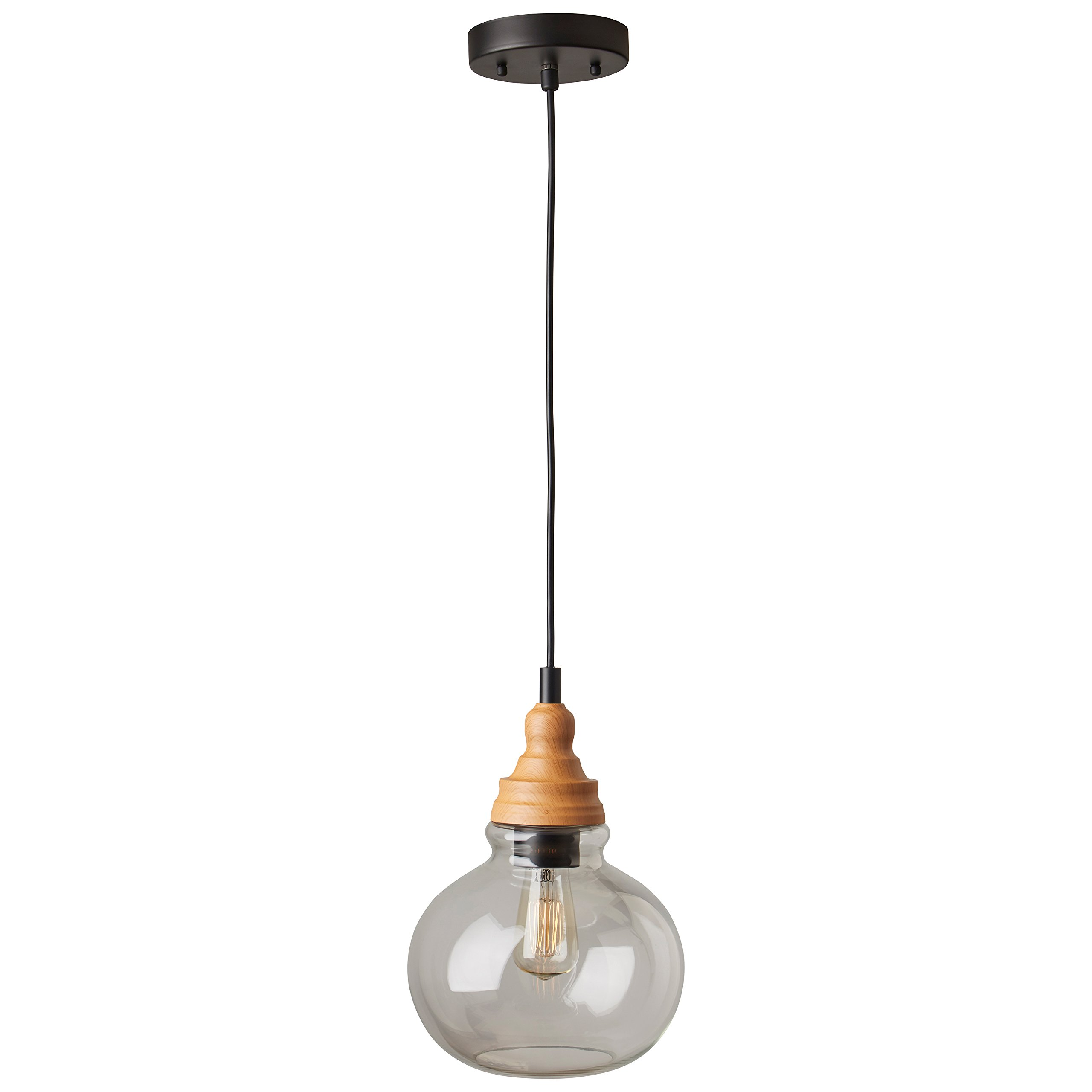 Rivet Glass Pendant With Bulb, 14.25''-60''H, Brown and Black by Rivet (Image #1)