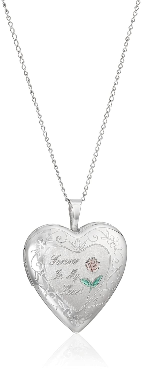 "Sterling Silver ""Forever in My Heart"" Heart Locket Pendant Necklace, 18"""