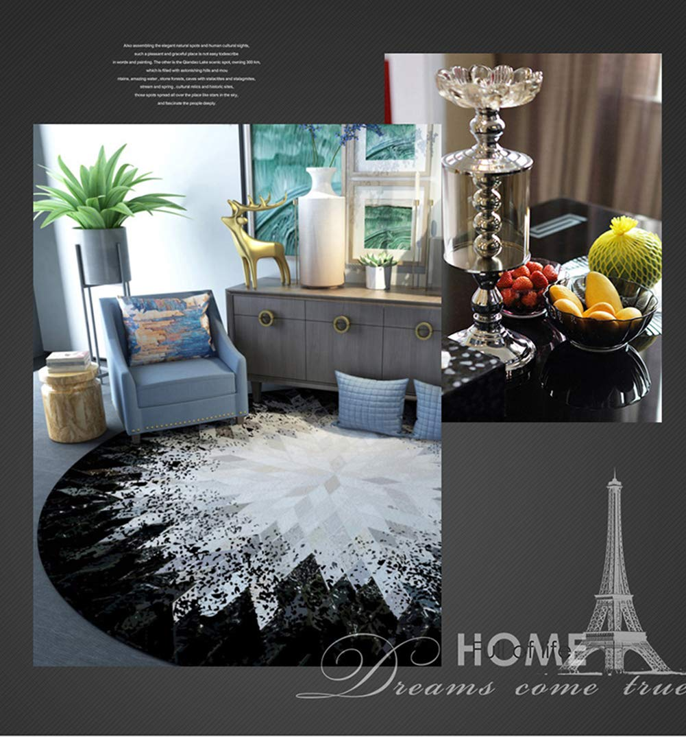 Loartee Modern Simple Design Round Area Rug Geometric Carpet Easy to Clean Contemporary Soft Living Dining Room Rug (3.4  x 3.4 , Black & White)