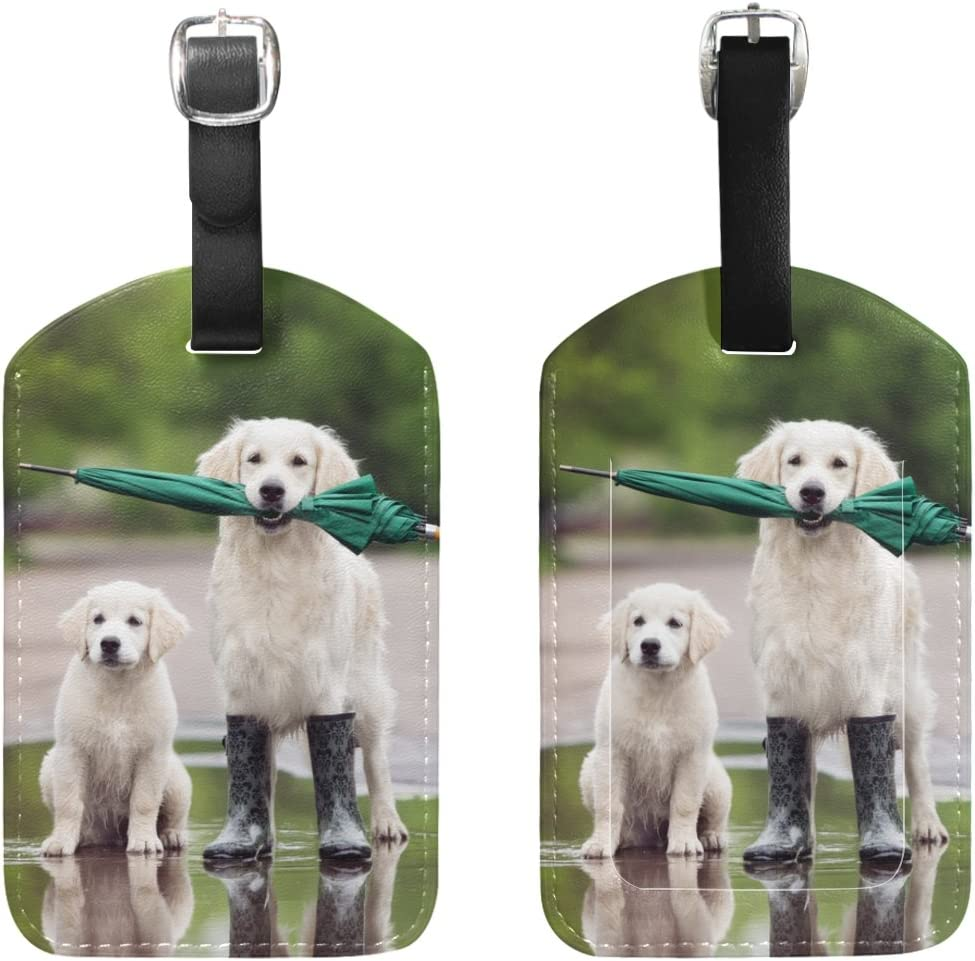 Chen Miranda Dog Puppy Umbrella Luggage Tag PU Leather Travel Suitcase Label ID Tag Baggage claim tag for Trolley case Kids Bag 1 Piece