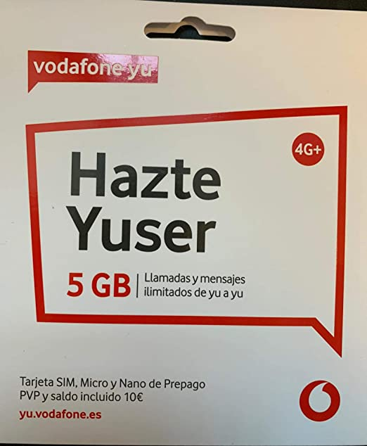 Vodafone Yuser - Tarjeta SIM, 1,2GB, 15 Minutos y Roaming.: Amazon.es: Electrónica