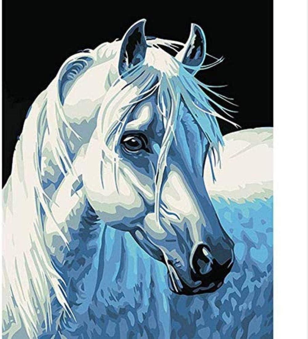 Hxfhxf Cuadro Pintado Por Números Cabeza De Caballo Blanco Moderno Arte De La Pared Lienzo Pintado A Mano Para Decoración Del Hogar Sin Marco 40X50 Cm