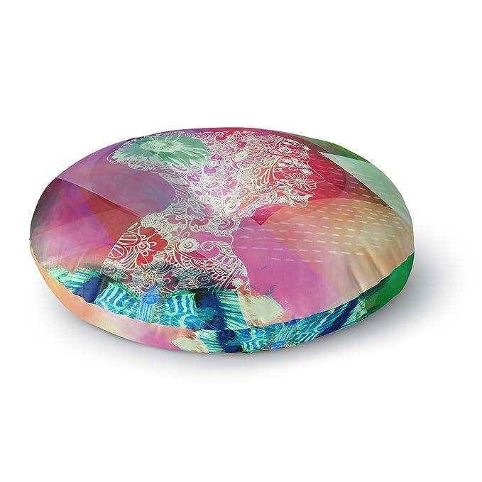 Pink Abstract 23 x 23 Square Floor Pillow Light Kess InHouse AlyZen Moonshadow Silhouette