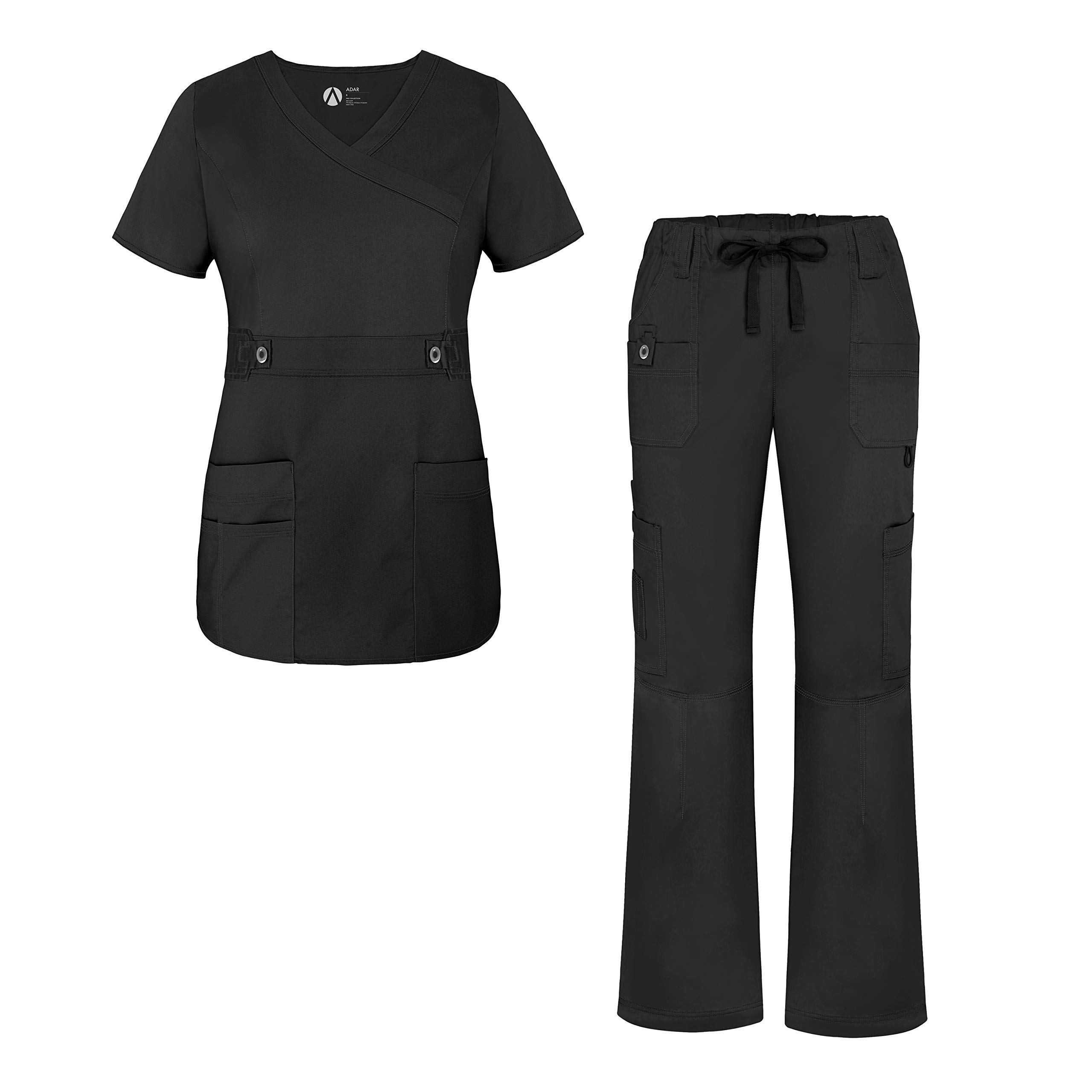 Adar Active Classic Scrub Set for Women - Crossover Top and Multi Pocket Pants