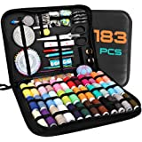 Sewing Kits for Adults, Kids, Beginners, Travel, Akaru 183 DIY Sewing Kit Supplies Including Professional Sewing Accessories, 38 XL Threads, Needles with Premium Leather Case