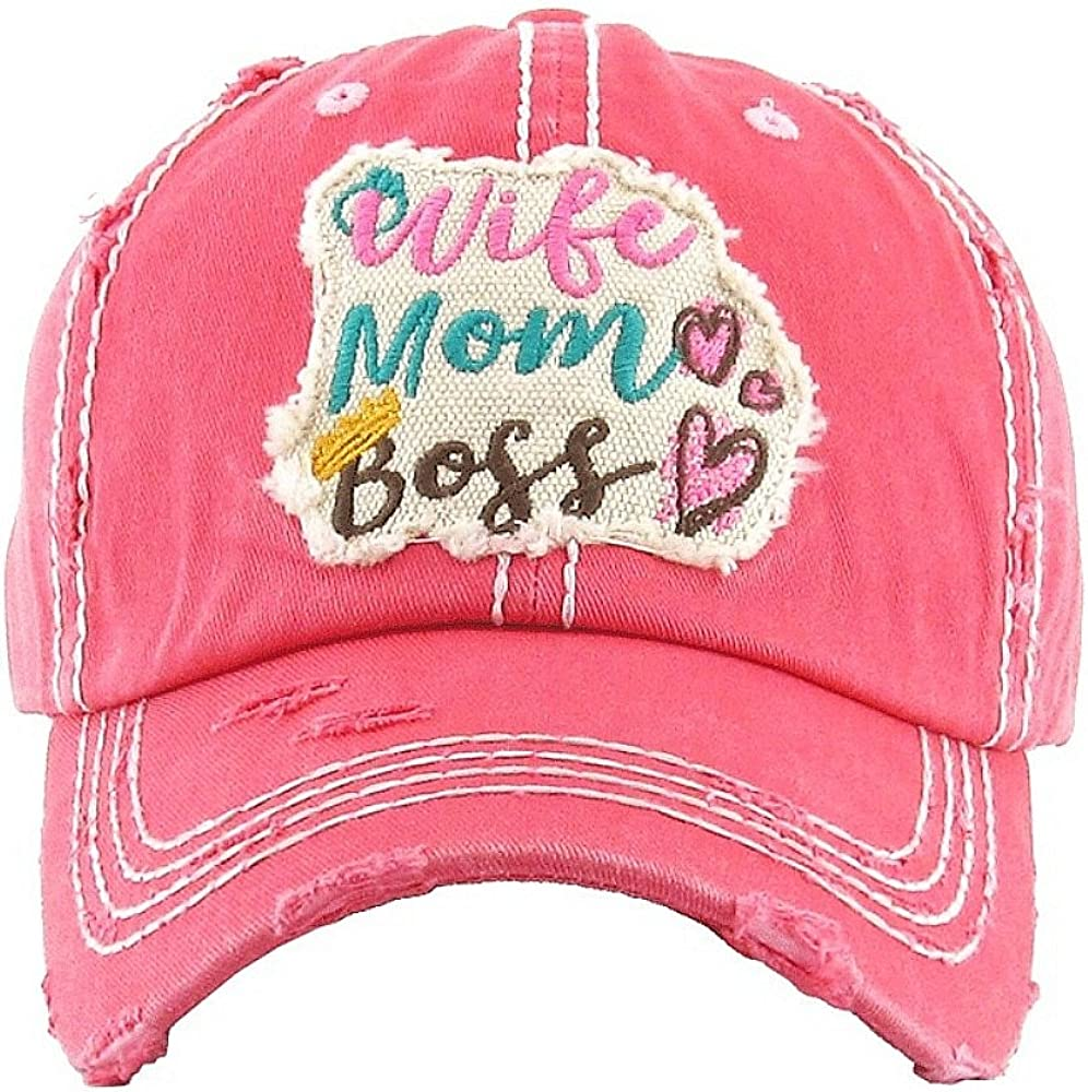 Ladies cap distressed Pink