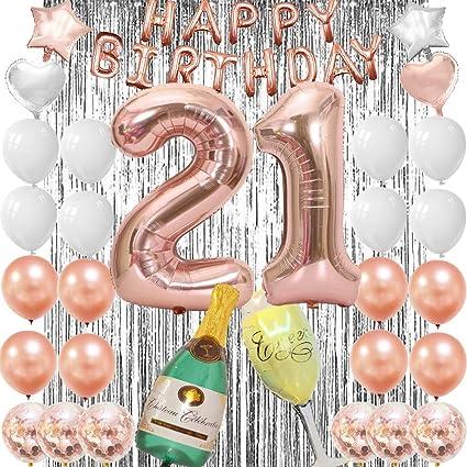 Amazon.com: 21 globos de cumpleaños para mujer de oro rosa ...