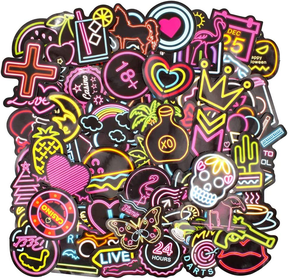 100pcs NEON Light Bar Stickers Vinyl Decals for Graffiti Laptop Guitar Bumper Luggage Hemlet Skateboard Car Bicycle Motorcycle