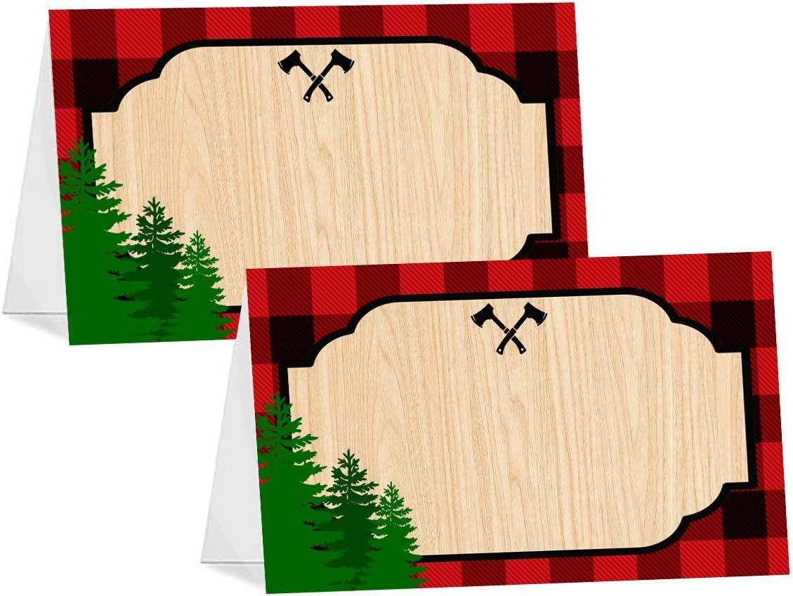 POP parties Lumberjack Table Tents - 12 Lumberjack Buffet Cards - Lumberjack Buffalo Plaid Place Cards - Lumberjack Decorations - Camping Party Decorations - Lumberjack Party Supplies