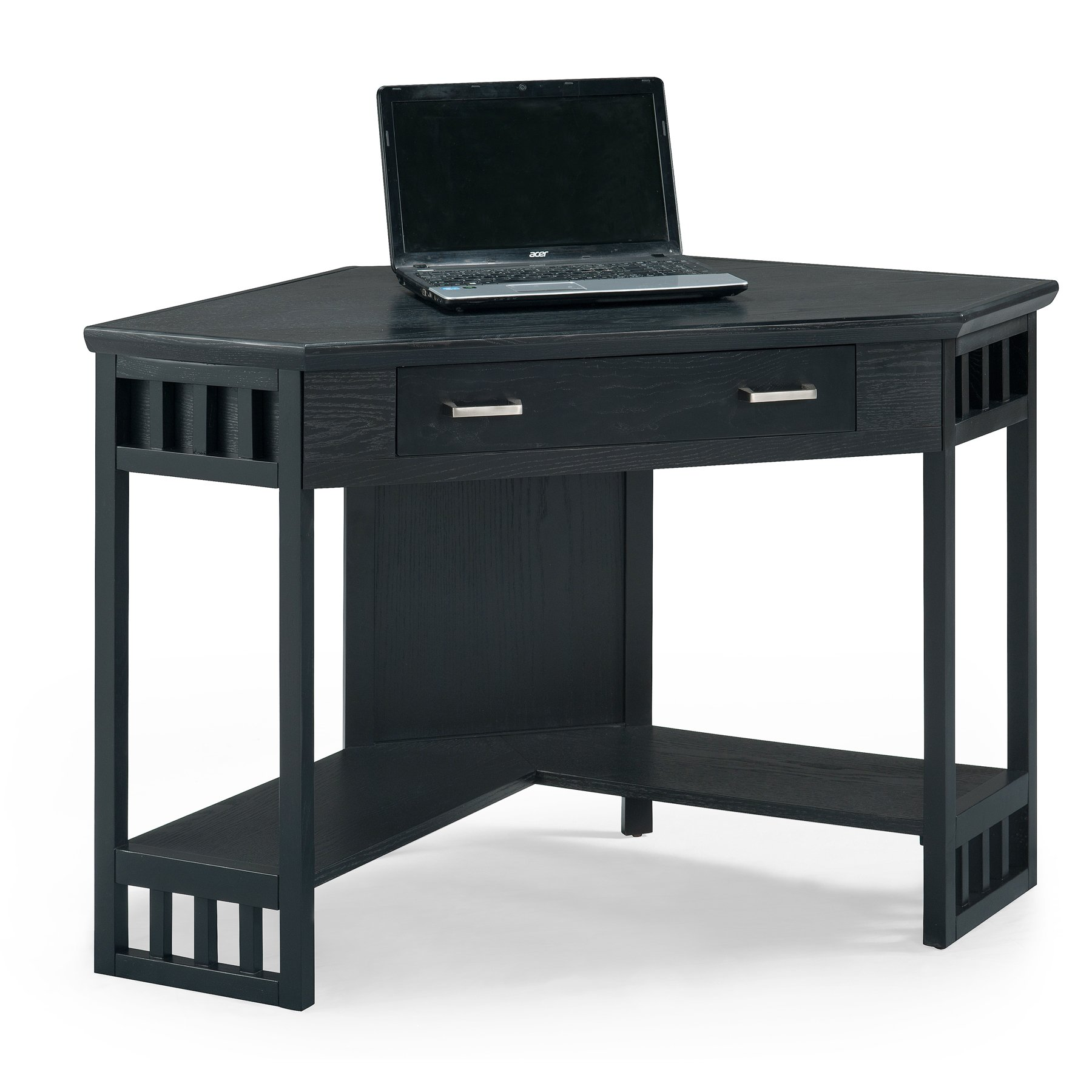 Leick Corner Computer and Writing Desk, Black Finish