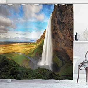 "Ambesonne Waterfall Shower Curtain, Mountain Waterfalls on The Iceland Landmark Picture Summertime Wilderness Print, Cloth Fabric Bathroom Decor Set with Hooks, 70"" Long, Mustard White"