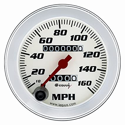 8 Speedometer White With Silver Bezel Equus 8076