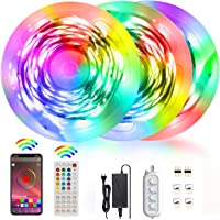 Akfado RGB LED Strip Lights 15m, 5050 RGB Bluetooth LED Lights with Remote Control Music Sync Color Changing Rope Light…