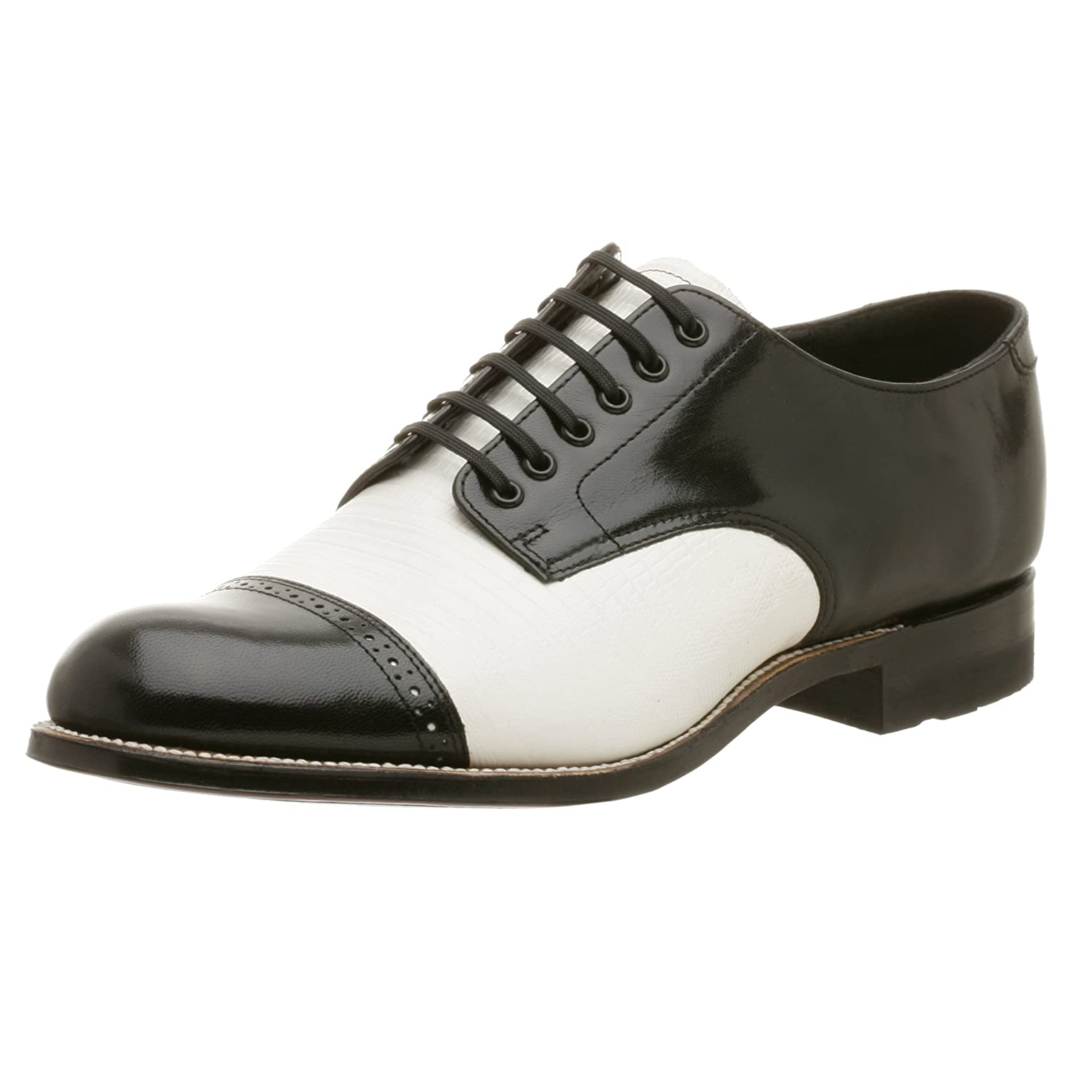 1940s Mens Shoes | Gangster, Spectator, Black and White Shoes Stacy Adams Mens Madison Lizard Print Oxford $129.95 AT vintagedancer.com