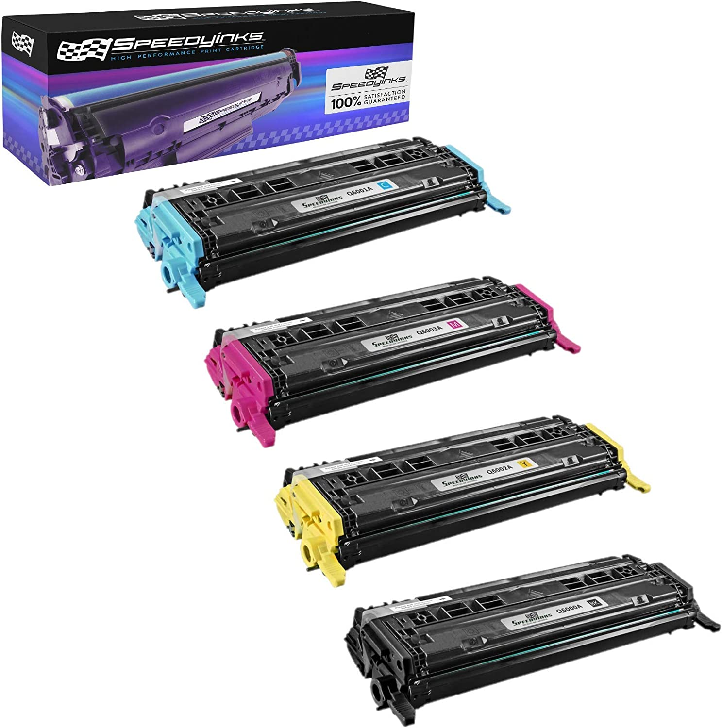 Speedy Inks Remanufactured Toner Cartridge Replacement for HP 124A (1 Black, 1 Cyan, 1 Magenta, 1 Yellow, 4-Pack)