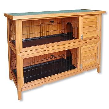Conejera 2 niveles caseta roedores conejos animales pequeños jardín: Amazon.es: Jardín