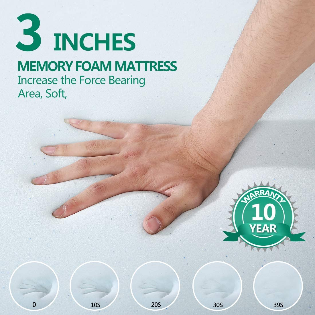 Edilly 3 Inch Memory Foam Mattress Pad Bed Topper Queen Size,Aviation Grade Material,Removable Hypoallergenic Soft Cover Comfort Body Support /& Pressure Relief,10 Year Warranty