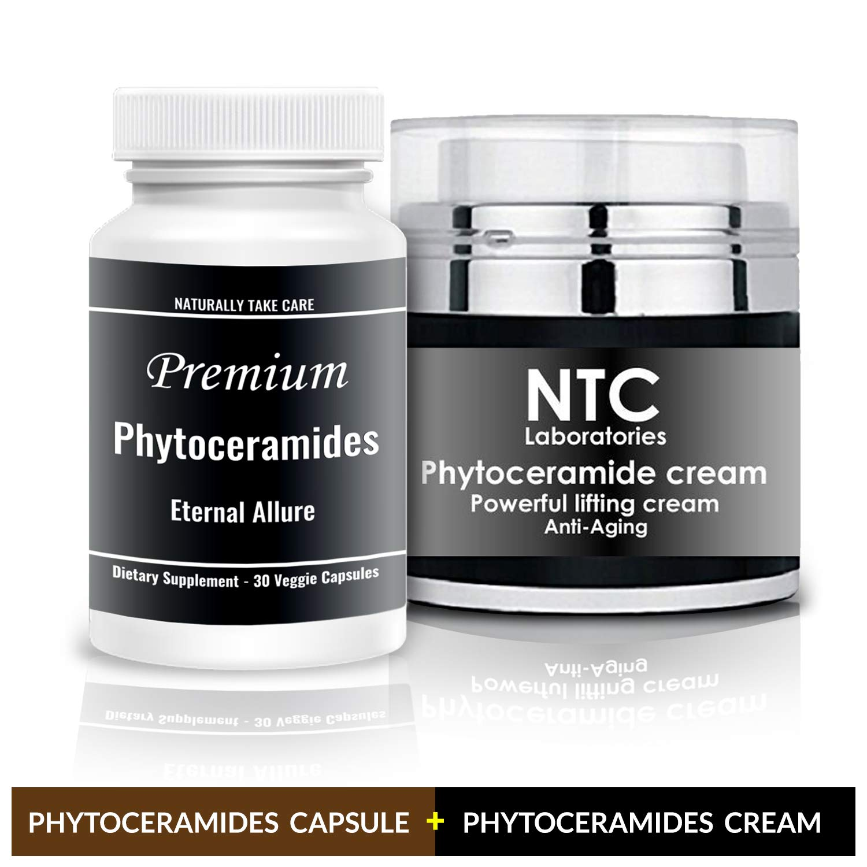 Ultimate Anti Aging Formula - Premium Phytoceramides Bundle - 1 Bottle Capsules Plus One Jar Phytoceramides Crème -Skin Restoring Wrinkle Reducing Dermatologist Recommended Supplement and creme NTC