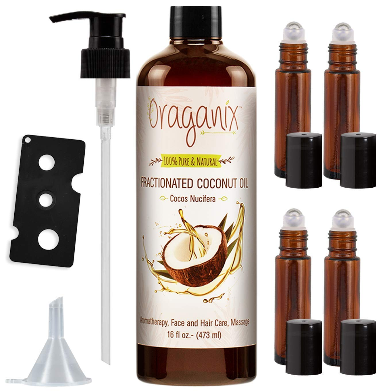 Oraganix Fractionated Coconut Oil with Roller Bottles -100% Pure Natural 16 Oz Coconut Oil, 2ml Essential Oil Roller Bottles, Caps, Funnel and Bottle Opener - for Massage Oil, Skin and Hair Care