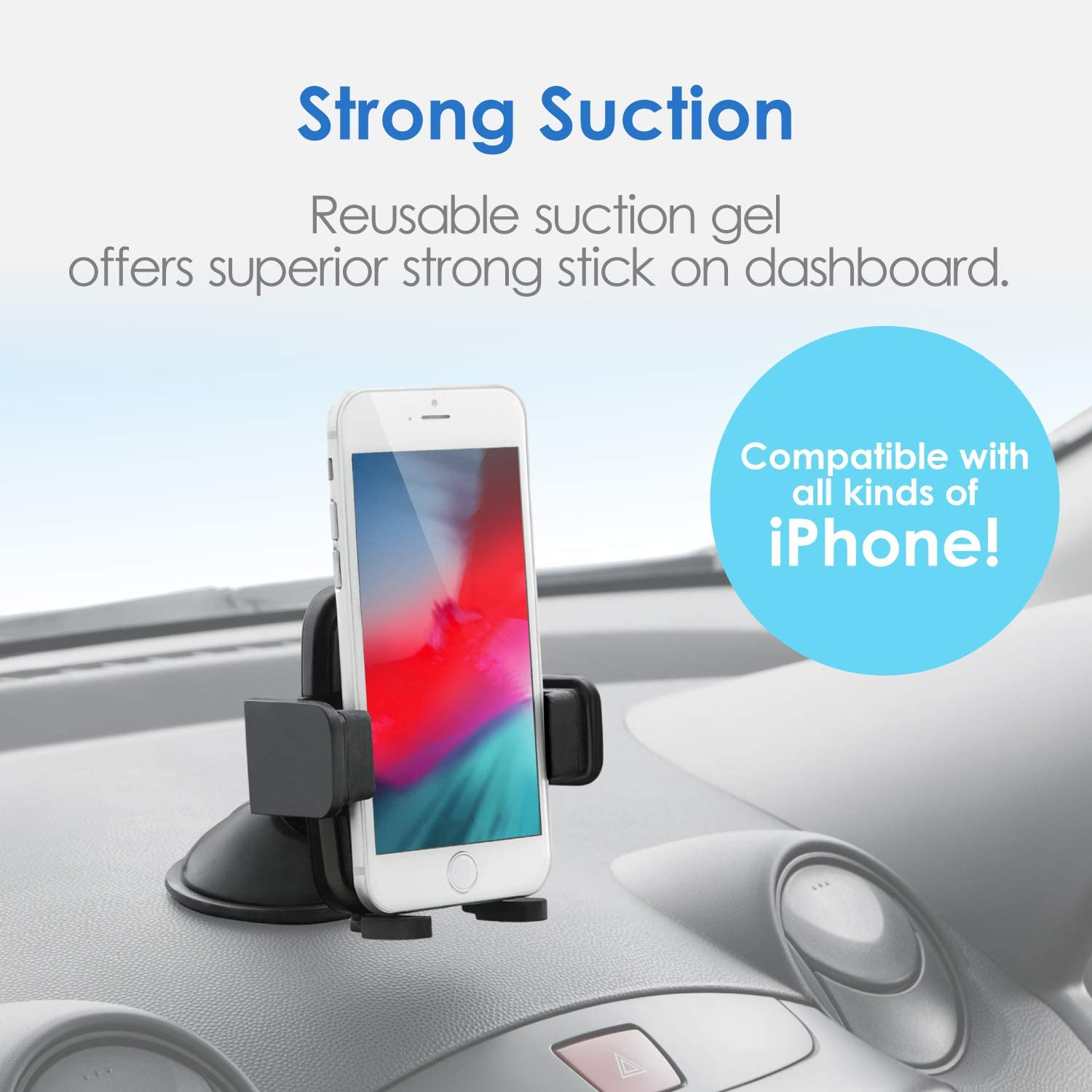 36o/° Rotate Strong Sticky Gel//Car Mount Cradle with One-Touch Design Black EC-SH01BK ELECOM Cell Phone Holder for Car//Dashboard