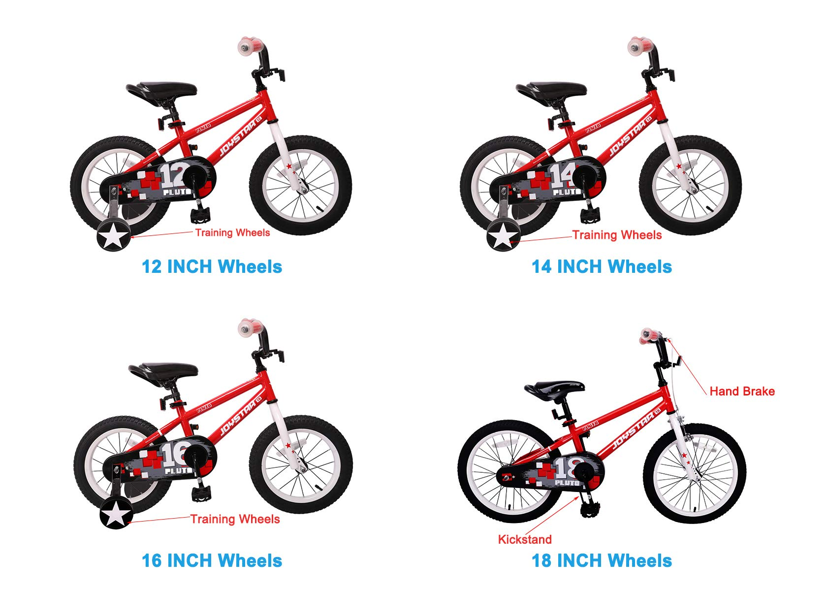 JOYSTAR 12'' Pluto Kids Bike with Training Wheels for 2 3 4 Year Old Boys & Girls, Unisex Kids Bicycle, Pedal Cycle for Toddlers, Red by JOYSTAR (Image #5)