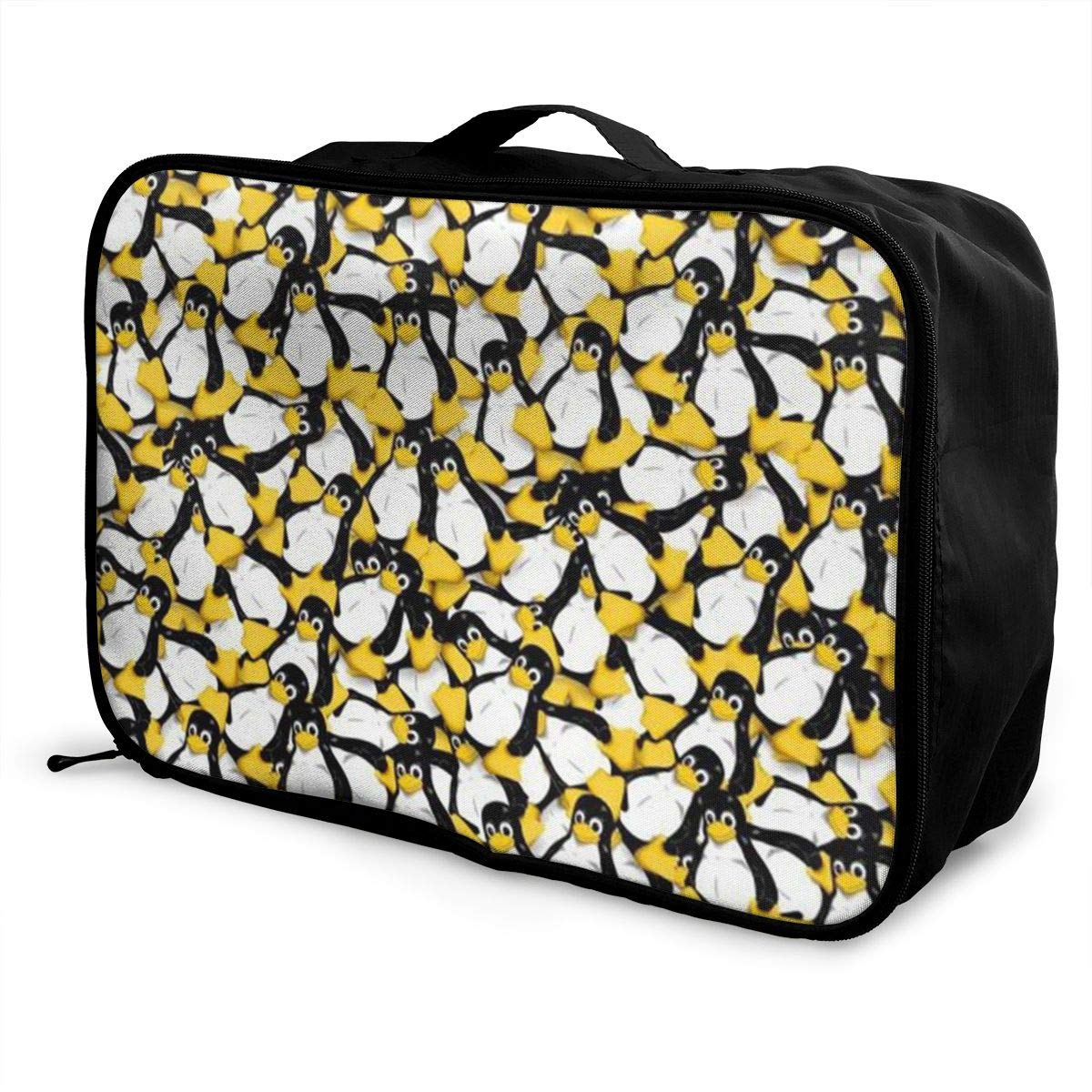 ADGAI Tux The Linux Penguin Canvas Travel Weekender Bag,Fashion Custom Lightweight Large Capacity Portable Luggage Bag,Suitcase Trolley Bag