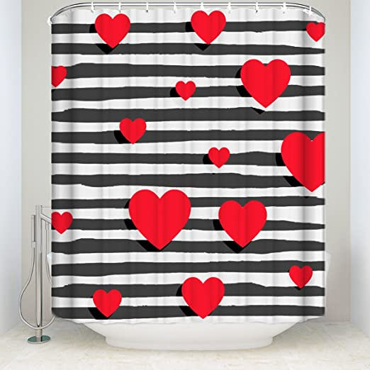 LB Red Valentines Day Shower Curtain Set Couple Heart Romantic Lover Bathroom Curtain with Hooks 72x72 inch Waterproof Polyester Fabric Bathroom Decorations