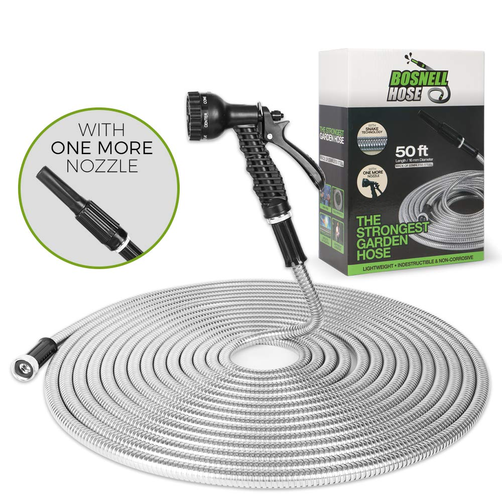 BOSNELL 50FT Metal Garden Hose, Dog Free and Kink Free,304 Stainless Steel Hose with 2 Free Nozzles, Lightweight, Ultra Flexible and Tangle Free, Cool to Touch, Outdoor Hose