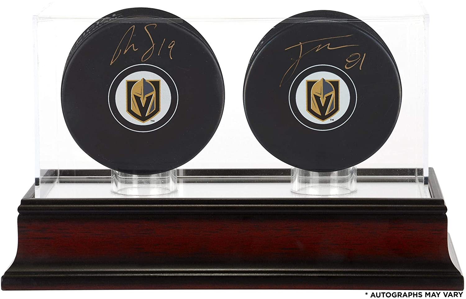 Reilly Smith and Jonathan Marchessault Vegas Golden Knights Autographed Hockey Pucks with Mahogany Two-Puck Case - Fanatics Authentic Certified
