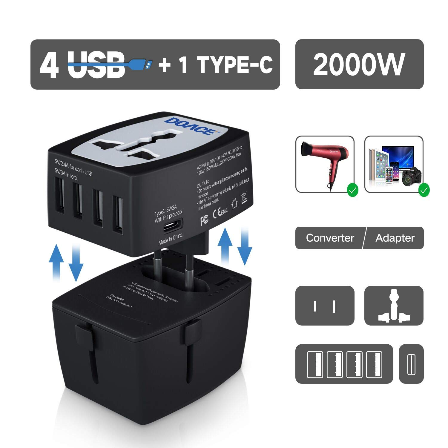 DOACE M9 2000W Travel Voltage Converter 220V to 110V for Hair Dryer Steam Iron, 10A Universal All in One UK/AU/US/EU Power Adapter with 4-USB Port and PD Charger for Laptop MacBook Camera Cell Phone