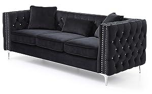 "Glory Furniture Paige G828A-S Sofa, Black. Living Room Furniture, 30"" H x 86"" W x 34"" D"