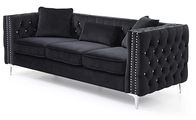 Amazon.com: Glory Furniture Paige G828A-S Sofa, Black ...