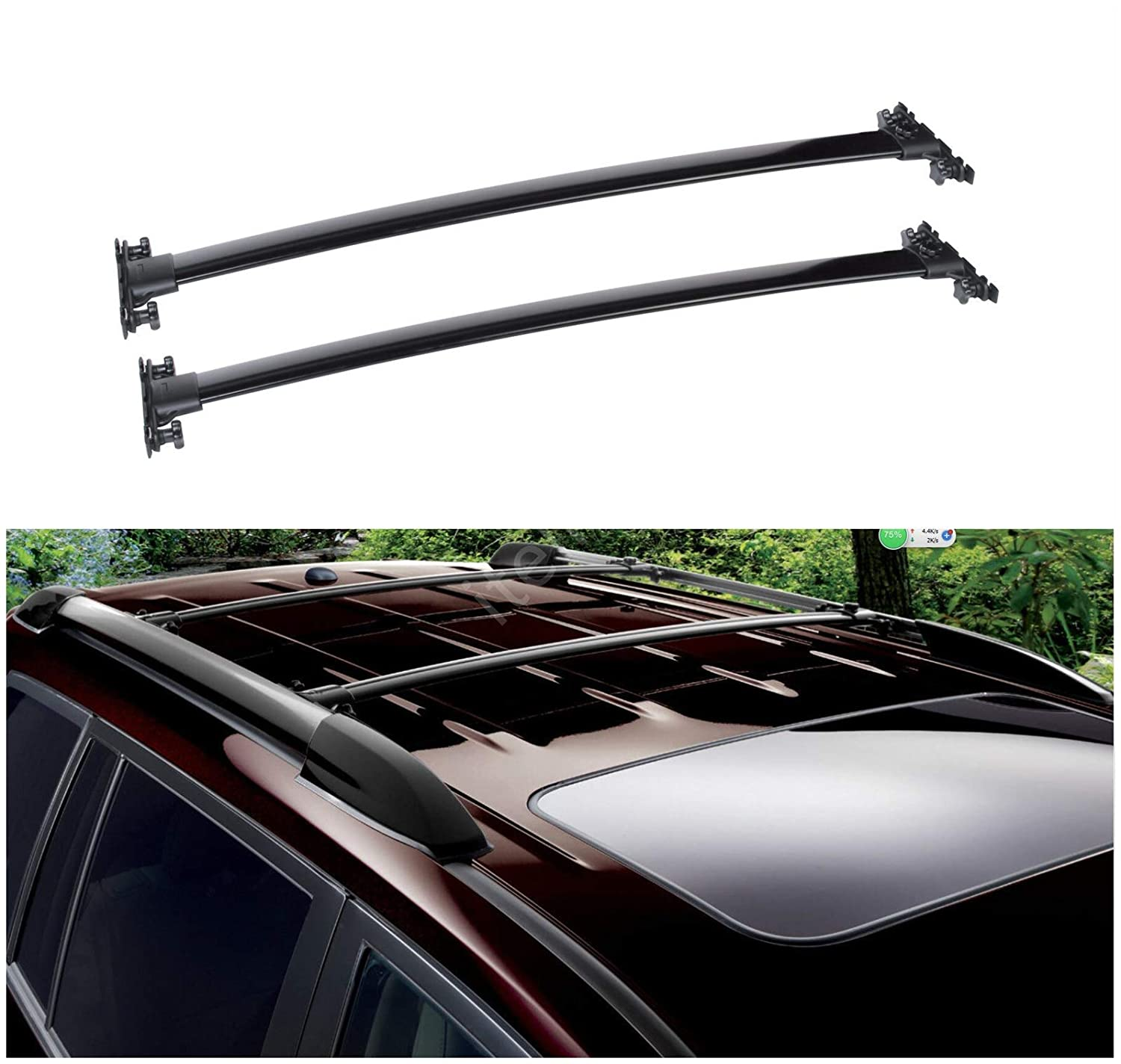 itelleti 2pcs New Factory Style Black Aircraft Aluminum Roof Rack Cross Bars Cargo Carriers Brackets Mounting Hardwares Fit 08-13 Toyota Highlander Equipped With OE Roof Side Rails