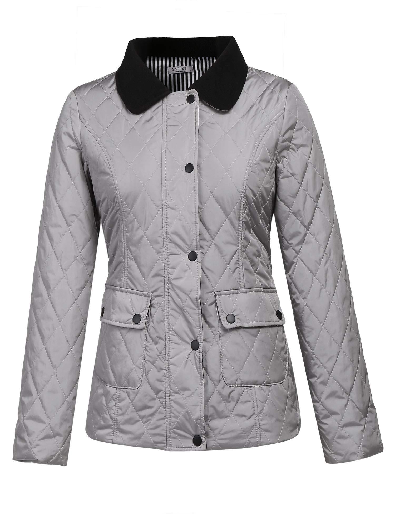 Pinsparkle Women Quilted Lightweight Diamond Jacket Winter Coat Tops Grey S