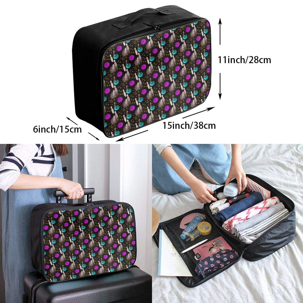 Travel Fashion Lightweight Large Capacity Duffel Portable Waterproof Foldable Storage Carry Luggage Tote Bag Night Fun Bowling