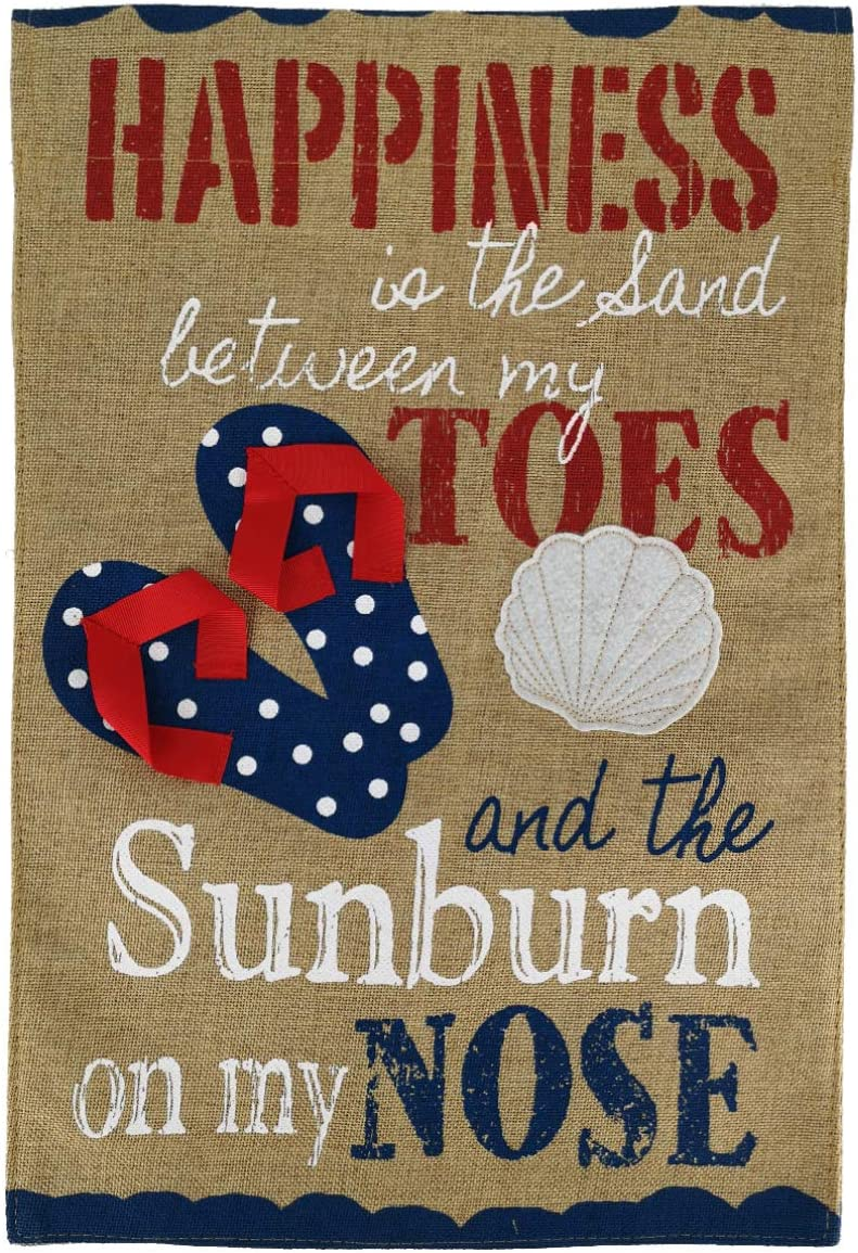 """Texupday Summer Happiness in The Sand Flip Flop Shell Decoration Burlap Double Sided Garden Flag Beach Holiday Outdoor Yard Flag 12"""" x 18"""""""