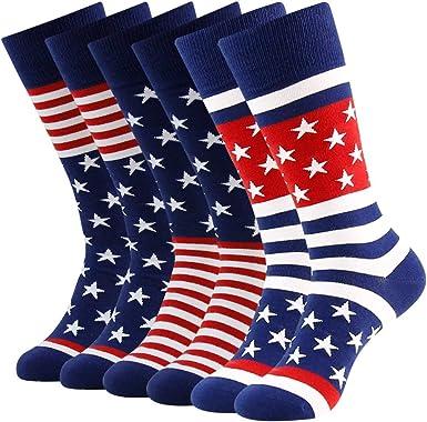 Pack Red White /& Blue Christmas Gift Holiday Stocking Stuffer American Socks Unique Mens Socks 3-pack Patriotic Socks for Men