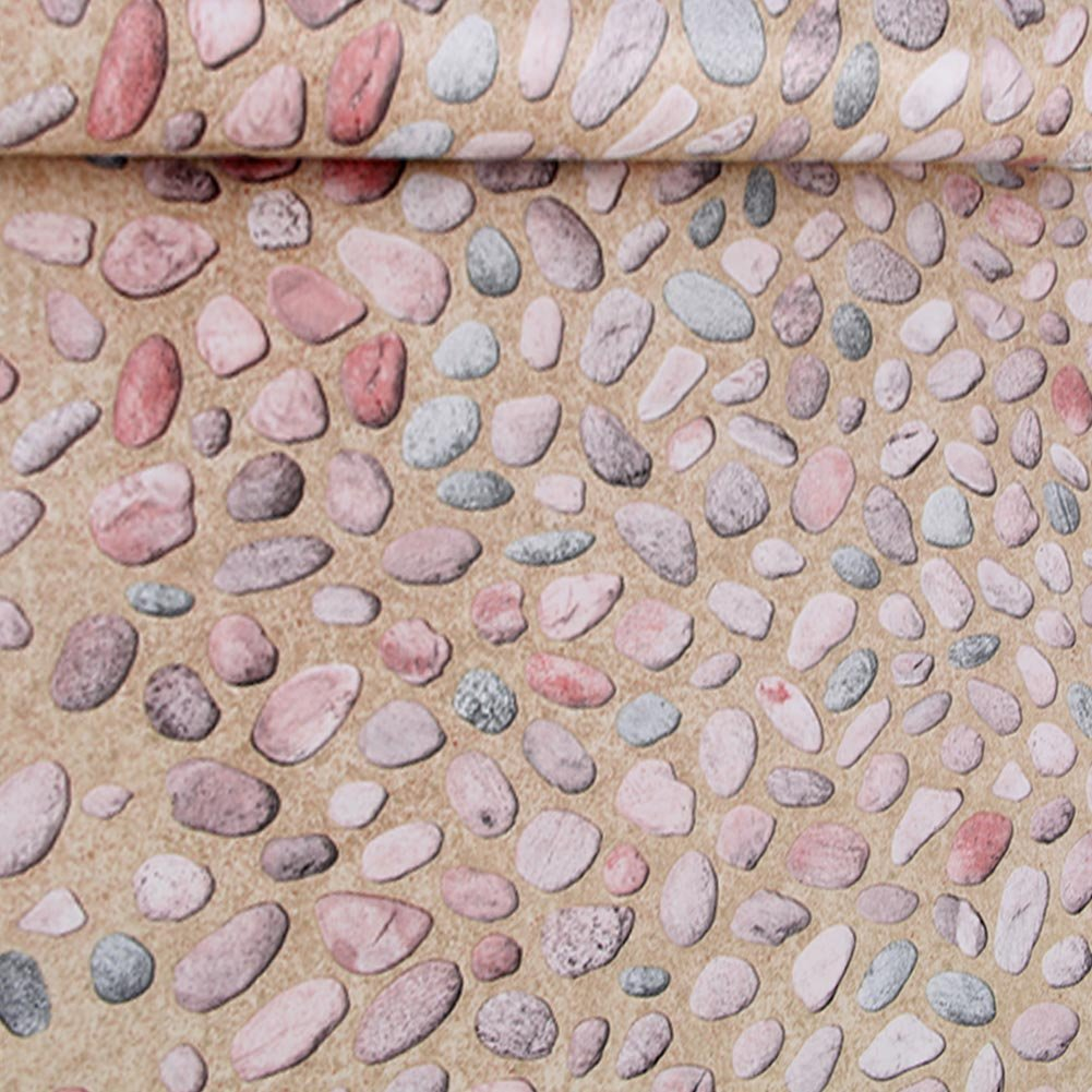 Cobblestone Wallpaper Faux Smooth Stone Peel And Stick Wall Paper For Living Room Home 17.7'' X 393.7'' Roll