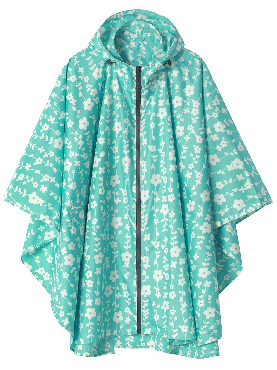 LINENLUX Waterproof Rain Poncho Jacket Coat for Adults Hooded with Zipper(Blue Floral)