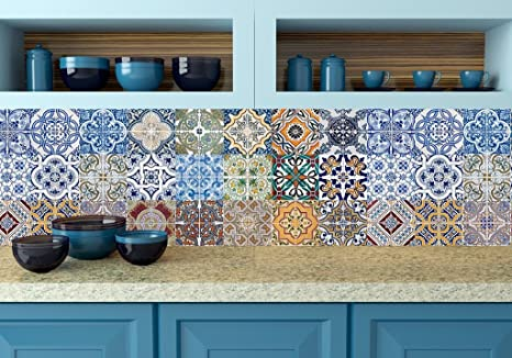 Tile Stickers 24 PC Set Authentic Traditional Talavera Tiles Bathroom Kitchen Decals Easy