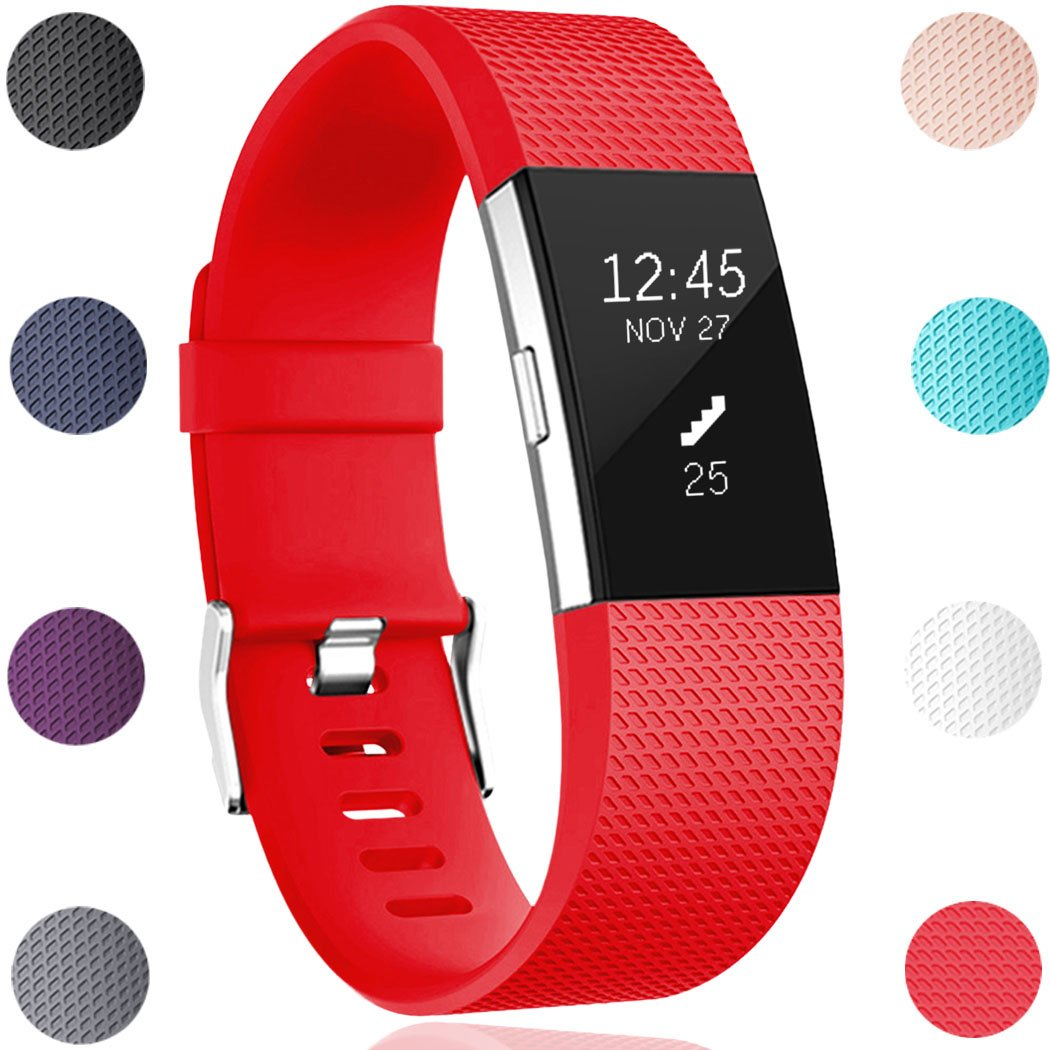 Geak Fitbit ALTAバンドとFitbit ALTA HRバンド、スポーツ用交換アクセサリーリストバンド安全腕時計バックル、S、Lサイズ、ブラックブルーレッドグレーピンクand Teal Small for 5.5