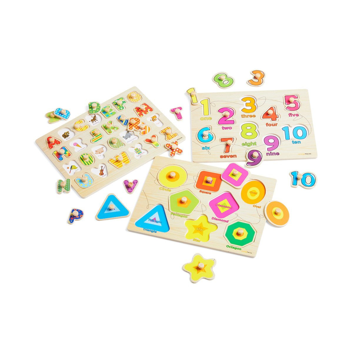 Wooden Peg Puzzle for toddlers - 3 Piece puzzle set for kids - Alphabet ABC, Numbers and Shapes Toy - Perfect pegged puzzles for kid learning letters, number, shape board puzzles for toddler ages 3+ by Orange Pieces (Image #2)