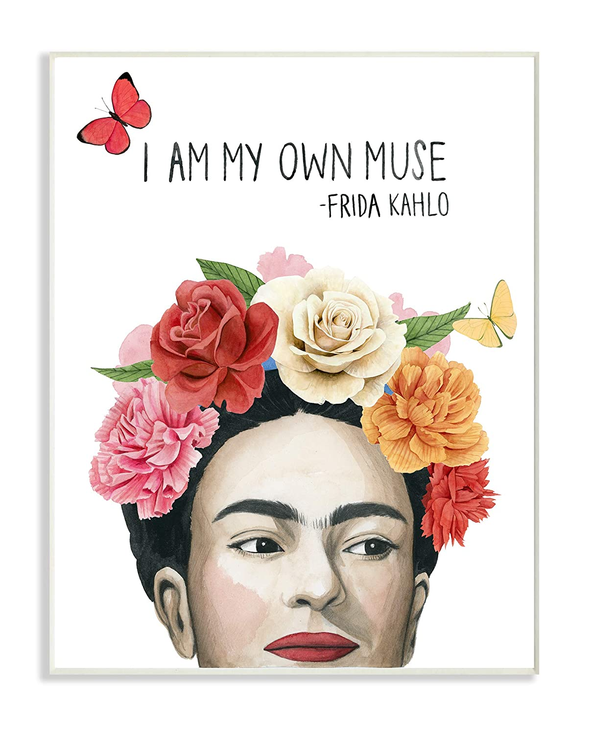 The Stupell Home Decor Pink and Coral My Own Muse Frida's Flowers Framed Giclee Texturized Art, 11 x 14, Multi-Color
