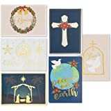 48-Pack Christian Christmas Cards - Holiday Greeting Cards Bulk Box Set, 6 Gold Foil Designs with Gold Paper Envelopes, 4 x 6 Inches