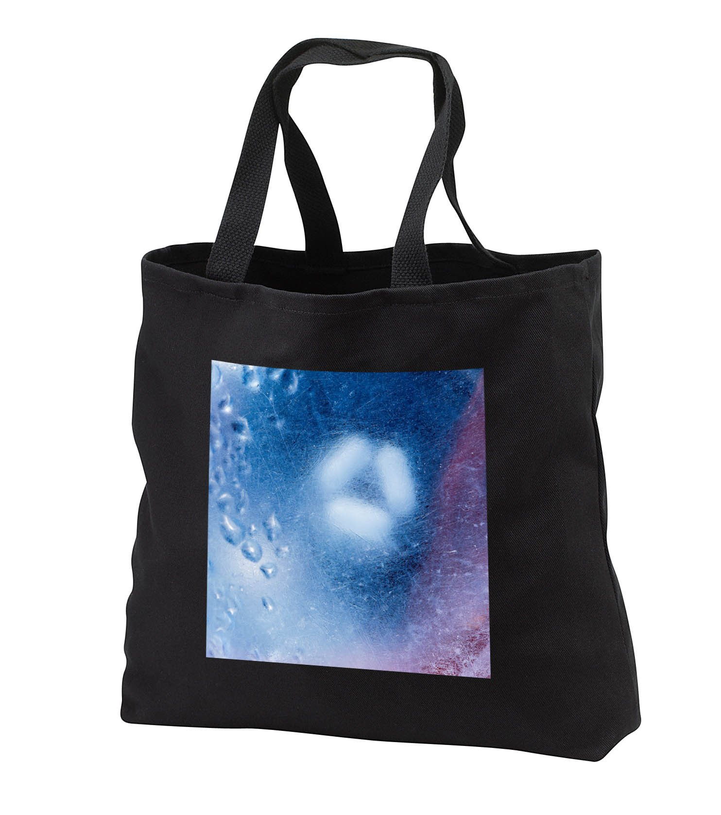 Alexis Photography - Texture Glass - Image of rough glass, water drops, white bulb, blue, red color - Tote Bags - Black Tote Bag JUMBO 20w x 15h x 5d (tb_285765_3)