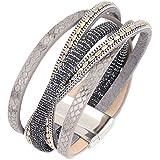 Bracelet wrap slake brésilien ethnique strass cristal fermoir magnetique en cuir gris