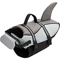 Hollypet Dog Life Jacket Adjustable Dog Lifesaver Reflective Vest Pet Life Preserver with Rescue Handle Gray