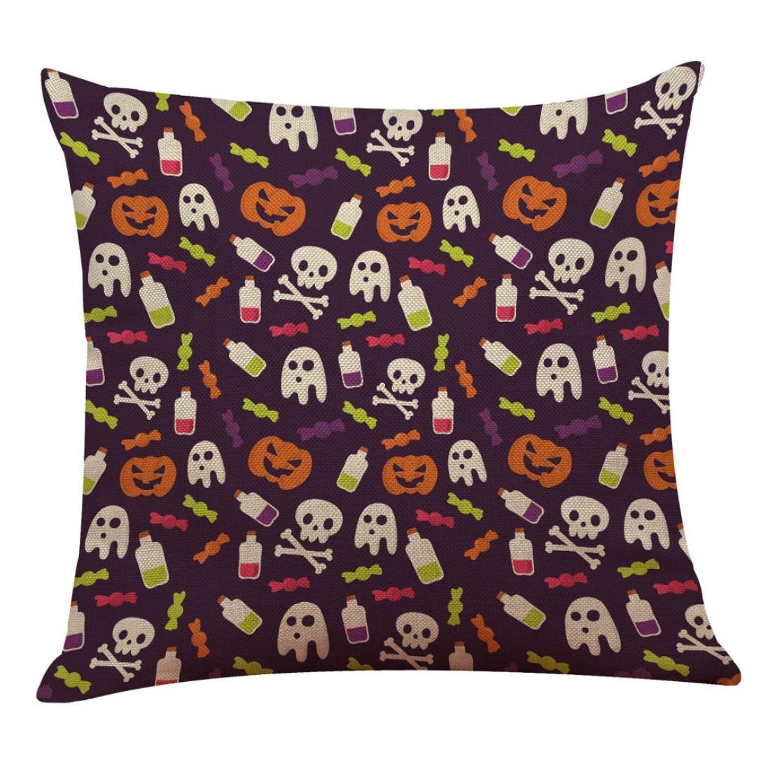 2017 Halloween Day Pillow Case,Elevin(TM)New Happy Halloween Day Pillow Cases Linen Sofa Cushion Cover Home Decor (K)