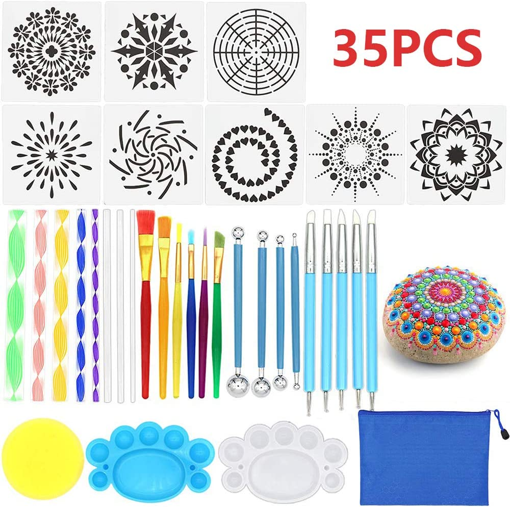 Opaltool - Juego de 35 Pinceles para Pintar Mandala, para Pintar y Colorear